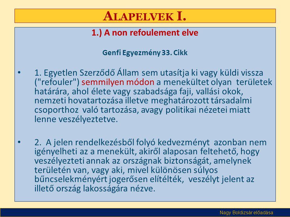 Nagy Boldizsár előadása A LAPELVEK I. 1.) A non refoulement elve Genfi Egyezmény 33. Cikk • 1. Egyetlen Szerződő Állam sem utasítja ki vagy küldi viss