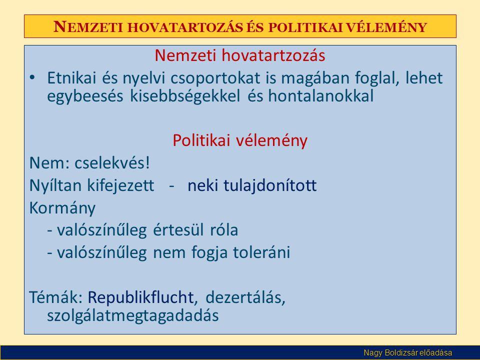 Nagy Boldizsár előadása N EMZETI HOVATARTOZÁS ÉS POLITIKAI VÉLEMÉNY Nemzeti hovatartzozás • Etnikai és nyelvi csoportokat is magában foglal, lehet egybeesés kisebbségekkel és hontalanokkal Politikai vélemény Nem: cselekvés.