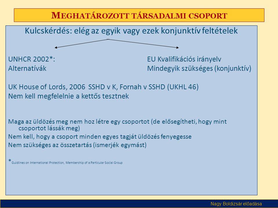Nagy Boldizsár előadása M EGHATÁROZOTT TÁRSADALMI CSOPORT Kulcskérdés: elég az egyik vagy ezek konjunktív feltételek UNHCR 2002*: EU Kvalifikációs irá
