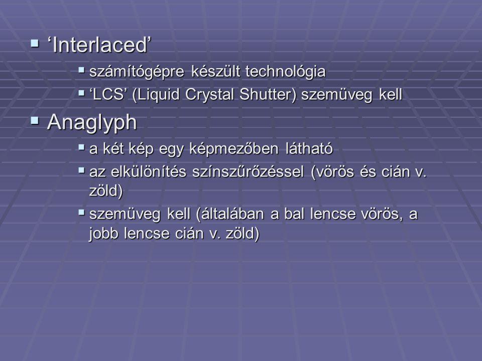  'Interlaced'  számítógépre készült technológia  'LCS' (Liquid Crystal Shutter) szemüveg kell  Anaglyph  a két kép egy képmezőben látható  az el