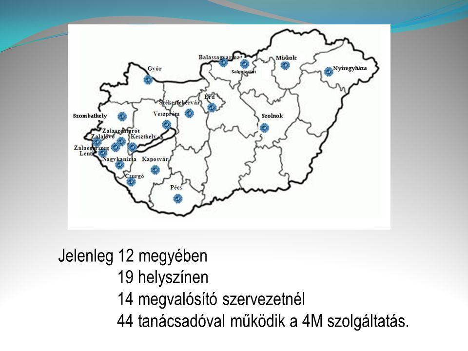 Jelenleg 12 megyében 19 helyszínen 14 megvalósító szervezetnél 44 tanácsadóval működik a 4M szolgáltatás.