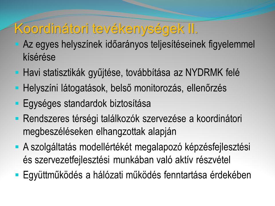 Koordinátori tevékenységek II.