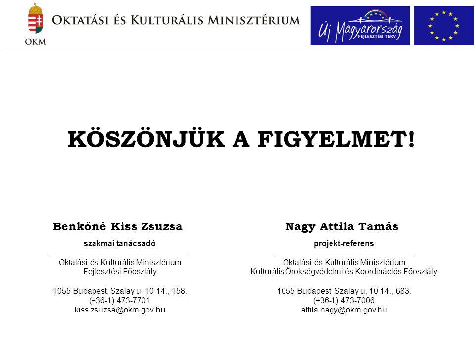 Benkőné Kiss Zsuzsa szakmai tanácsadó Oktatási és Kulturális Minisztérium Fejlesztési Főosztály 1055 Budapest, Szalay u. 10-14., 158. (+36-1) 473-7701