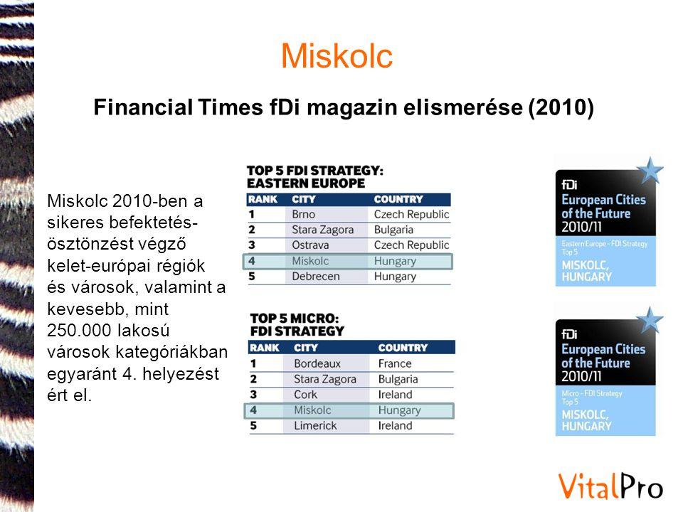 Miskolc Miskolc 2010-ben a sikeres befektetés- ösztönzést végző kelet-európai régiók és városok, valamint a kevesebb, mint 250.000 lakosú városok kate