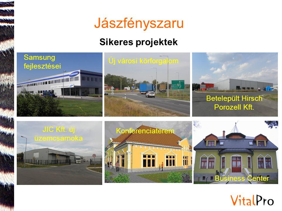 Jászfényszaru Sikeres projektek Samsung fejlesztései Új városi körforgalom JIC Kft. új üzemcsarnoka Betelepült Hirsch Porozell Kft. Business Center Ko