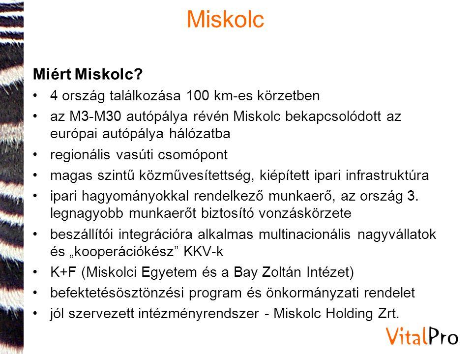 Miért Miskolc? •4 ország találkozása 100 km-es körzetben •az M3-M30 autópálya révén Miskolc bekapcsolódott az európai autópálya hálózatba •regionális