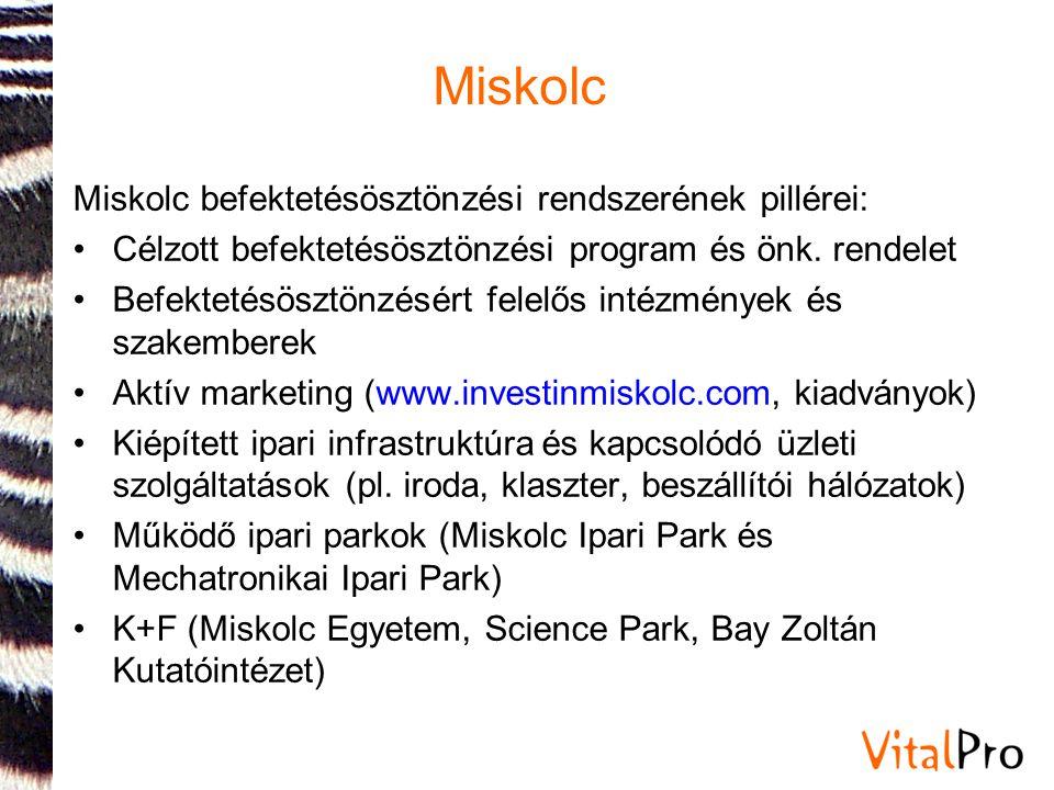Miskolc Miskolc MJV vállalkozásfejlesztési és befektetés-ösztönzési programja (letölthető www.investinmiskolc.com): •32/2008.