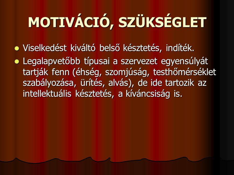 MOTIVÁCIÓ, SZÜKSÉGLET  Viselkedést kiváltó belső késztetés, indíték.  Legalapvetőbb típusai a szervezet egyensúlyát tartják fenn (éhség, szomjúság,