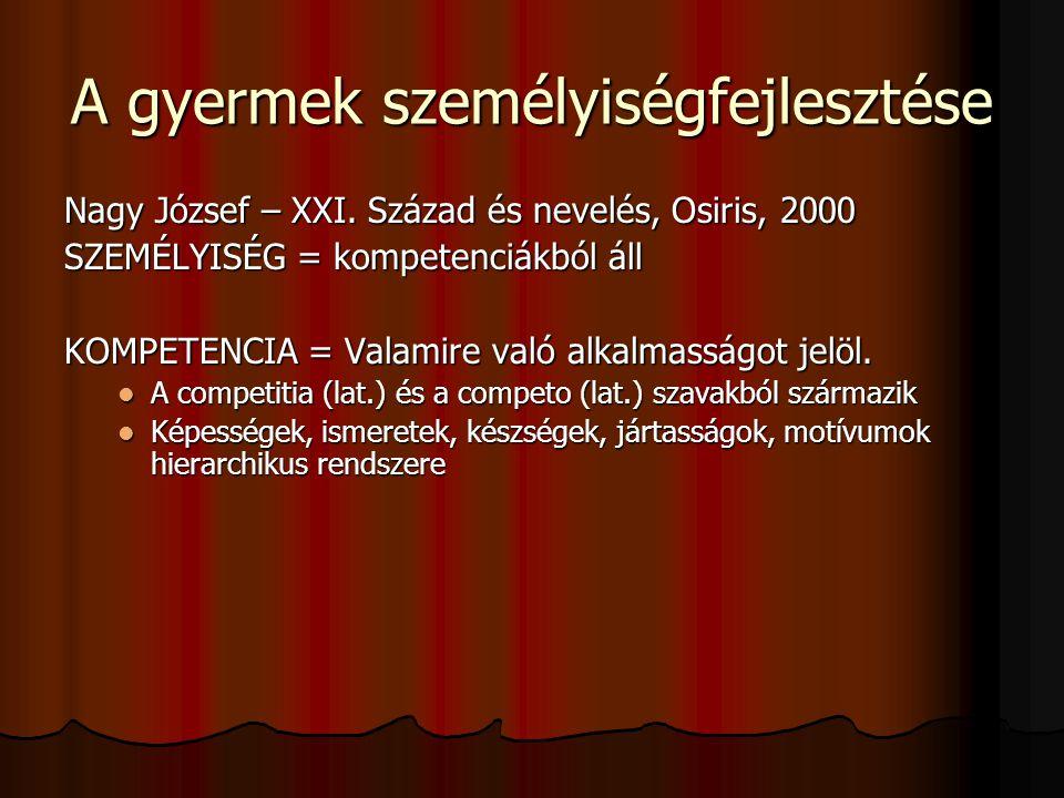 A gyermek személyiségfejlesztése Nagy József – XXI. Század és nevelés, Osiris, 2000 SZEMÉLYISÉG = kompetenciákból áll KOMPETENCIA = Valamire való alka