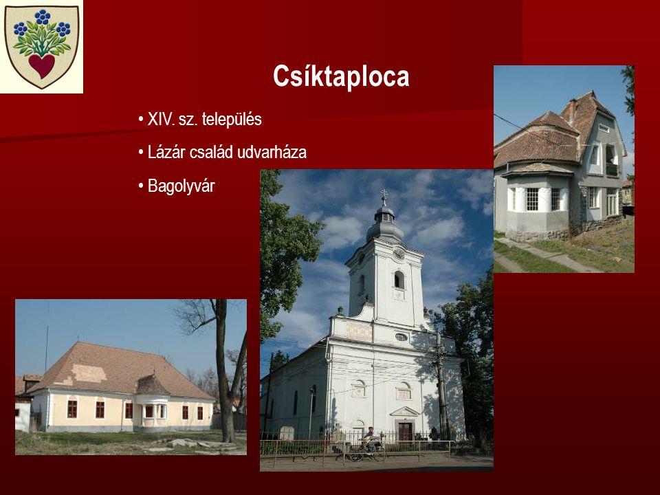 Csíktaploca • XIV. sz. település • Lázár család udvarháza • Bagolyvár