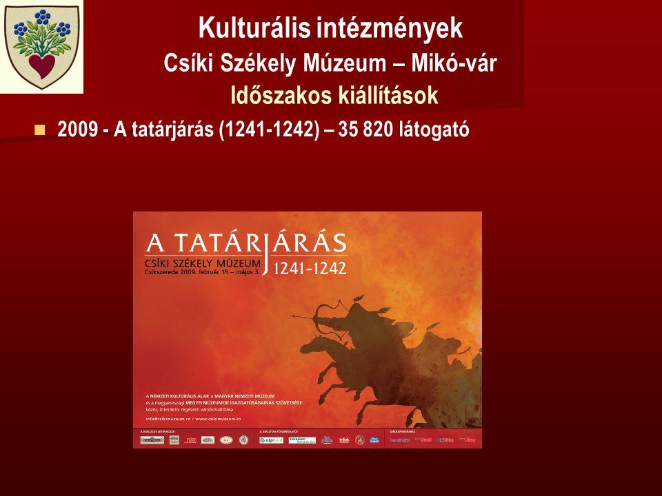 Kulturális intézmények Csíki Székely Múzeum – Mikó-vár Időszakos kiállítások   2009 - A tatárjárás (1241-1242) – 35 820 látogató