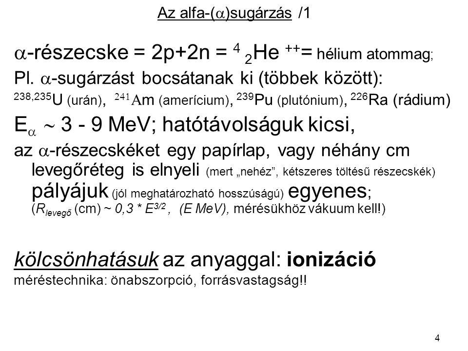 5 Az alfa-(  )sugárzás /2 Pl.