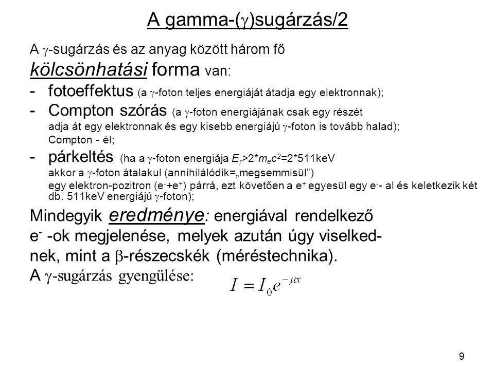 10 Fotoeffektus, Compton szórás, párkeltés E e = E  – E köt E e = E  -E  szórt E küszöb = 2*511 keV