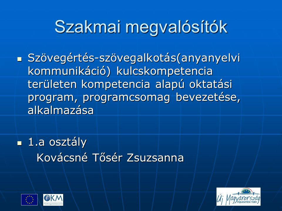 Szakmai megvalósítók  Szövegértés-szövegalkotás(anyanyelvi kommunikáció) kulcskompetencia területen kompetencia alapú oktatási program, programcsomag