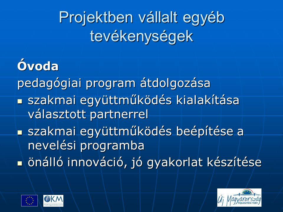 Projektben vállalt egyéb tevékenységek Óvoda pedagógiai program átdolgozása  szakmai együttműködés kialakítása választott partnerrel  szakmai együtt