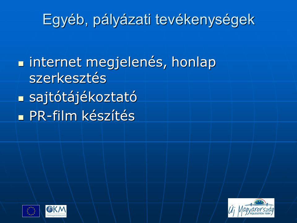 Egyéb, pályázati tevékenységek  internet megjelenés, honlap szerkesztés  sajtótájékoztató  PR-film készítés