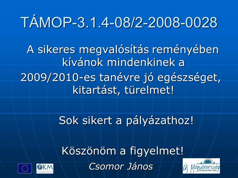 TÁMOP-3.1.4-08/2-2008-0028 A sikeres megvalósítás reményében kívánok mindenkinek a A sikeres megvalósítás reményében kívánok mindenkinek a 2009/2010-e