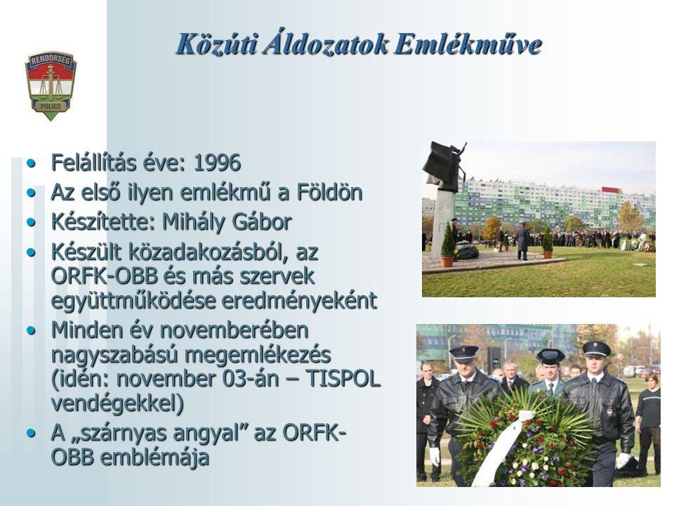 Közúti Áldozatok Emlékműve •Felállítás éve: 1996 •Az első ilyen emlékmű a Földön •Készítette: Mihály Gábor •Készült közadakozásból, az ORFK-OBB és más