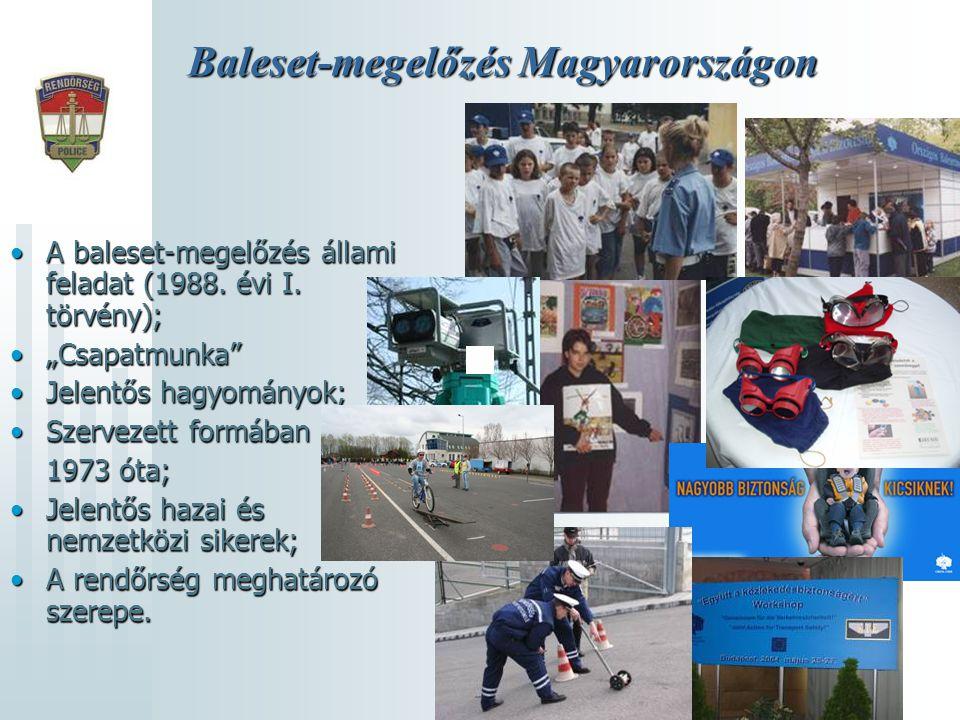 """Baleset-megelőzés Magyarországon •A baleset-megelőzés állami feladat (1988. évi I. törvény); •""""Csapatmunka"""" •Jelentős hagyományok; •Szervezett formába"""