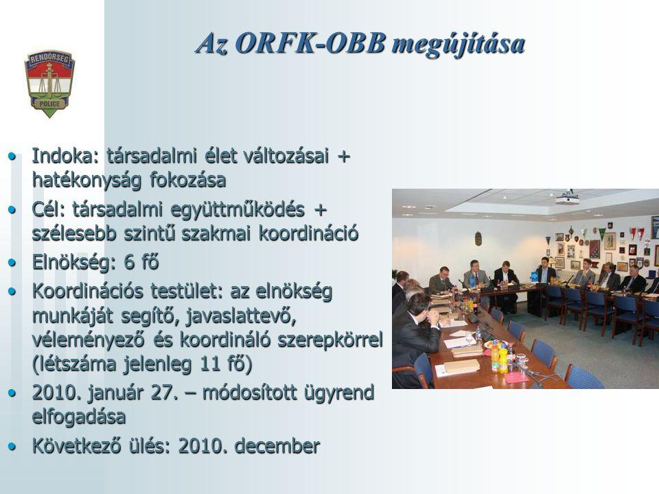 Az ORFK-OBB megújítása •Indoka: társadalmi élet változásai + hatékonyság fokozása •Cél: társadalmi együttműködés + szélesebb szintű szakmai koordináci