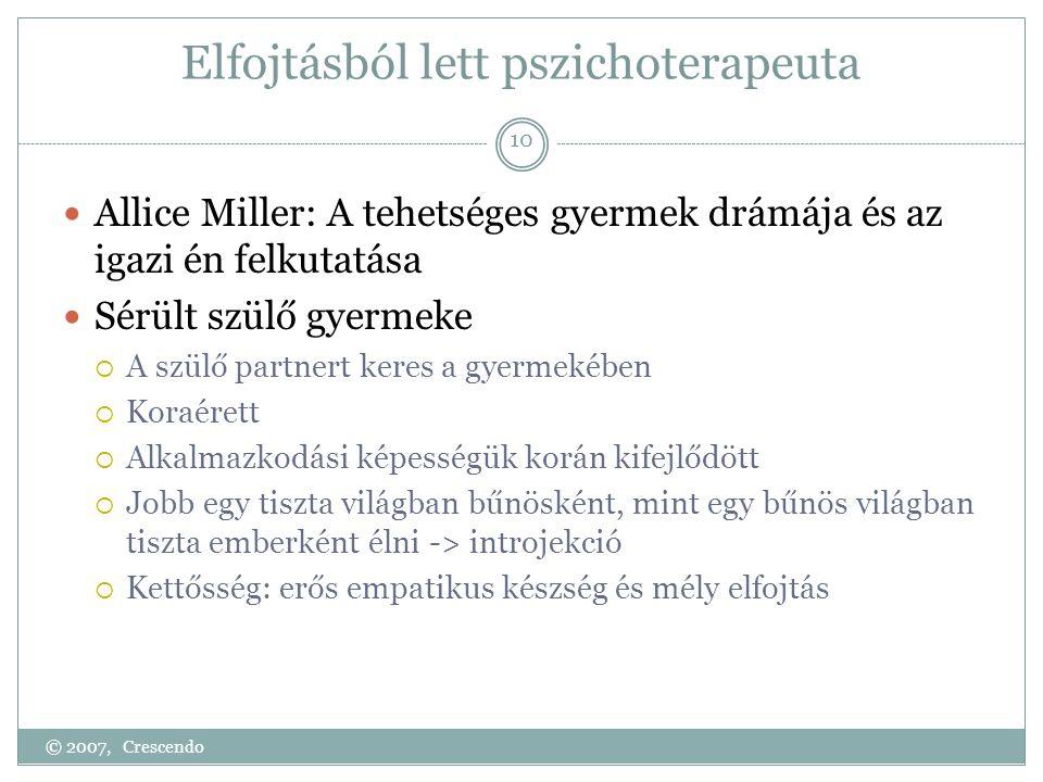 Elfojtásból lett pszichoterapeuta  Allice Miller: A tehetséges gyermek drámája és az igazi én felkutatása  Sérült szülő gyermeke  A szülő partnert