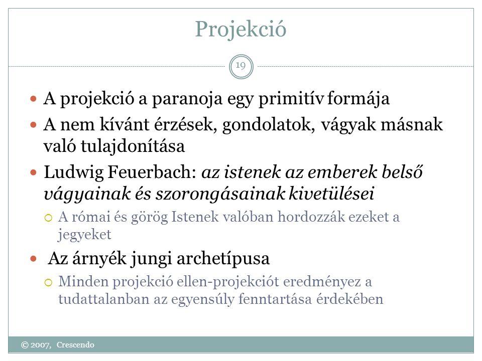 Projekció  A projekció a paranoja egy primitív formája  A nem kívánt érzések, gondolatok, vágyak másnak való tulajdonítása  Ludwig Feuerbach: az is