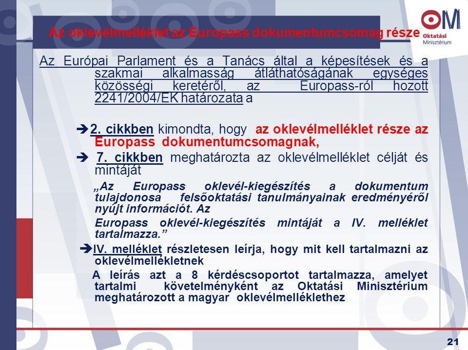 21 Az oklevélmelléklet az Europass dokumentumcsomag része Az Európai Parlament és a Tanács által a képesítések és a szakmai alkalmasság átláthatóságán