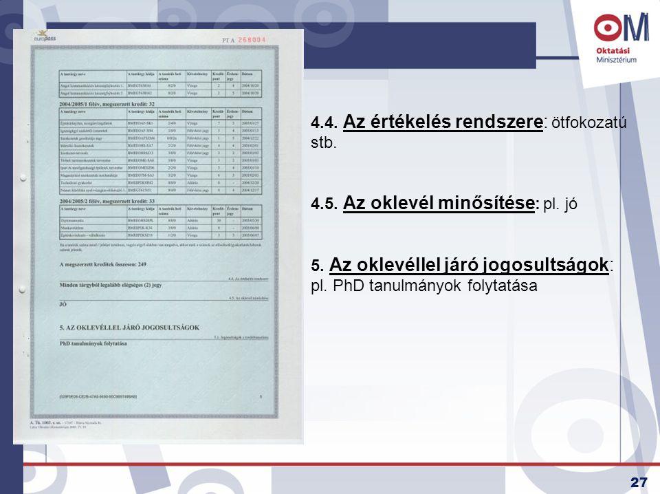 27 4.4. Az értékelés rendszere: ötfokozatú stb. 4.5. Az oklevél minősítése : pl. jó 5. Az oklevéllel járó jogosultságok: pl. PhD tanulmányok folytatás