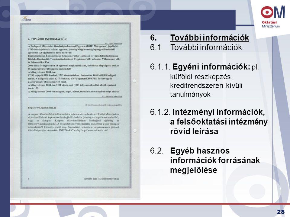 28 6.További információk 6.1 További információk 6.1.1. Egyéni információk: pl. külföldi részképzés, kreditrendszeren kívüli tanulmányok 6.1.2. Intézm
