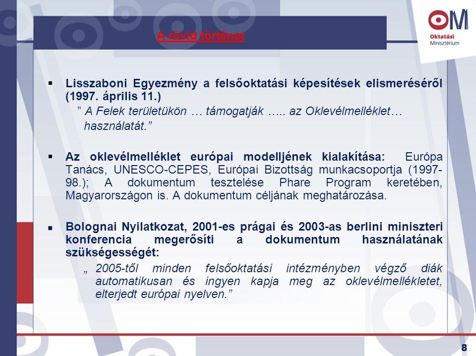 """8  Lisszaboni Egyezmény a felsőoktatási képesítések elismeréséről (1997. április 11.) """" A Felek területükön … támogatják ….. az Oklevélmelléklet… has"""