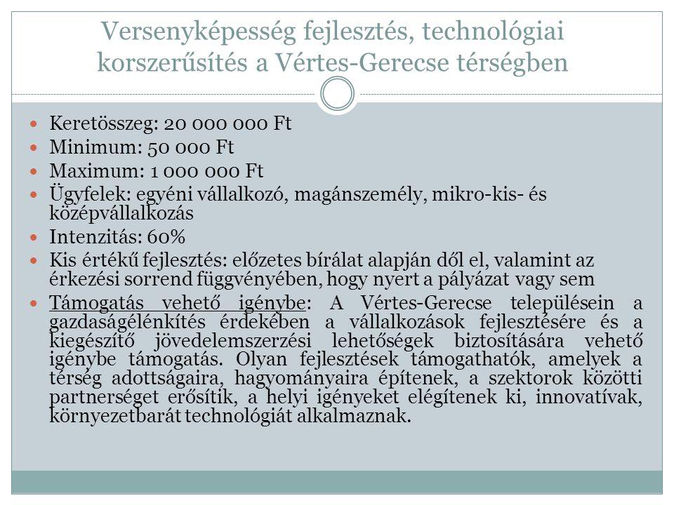 Versenyképesség fejlesztés, technológiai korszerűsítés a Vértes-Gerecse térségben  Keretösszeg: 20 000 000 Ft  Minimum: 50 000 Ft  Maximum: 1 000 000 Ft  Ügyfelek: egyéni vállalkozó, magánszemély, mikro-kis- és középvállalkozás  Intenzitás: 60%  Kis értékű fejlesztés: előzetes bírálat alapján dől el, valamint az érkezési sorrend függvényében, hogy nyert a pályázat vagy sem  Támogatás vehető igénybe: A Vértes-Gerecse településein a gazdaságélénkítés érdekében a vállalkozások fejlesztésére és a kiegészítő jövedelemszerzési lehetőségek biztosítására vehető igénybe támogatás.