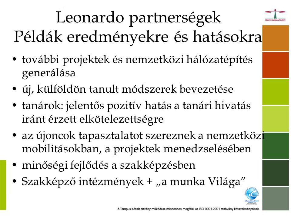 Leonardo projektek a Krúdy pedagógiai stratégiájában •Több mint 15 éves gyakorlat a Leonardo mobilitásokban (diákok és tanárok) •Több mint 30 projekt •Mobilitási tanúsítvány 2009-ben •Nemzetközi Mobilitási Nívódíj 2004- ben •Hosszú távú elkötelezettség a nemzetközi projektek iránt •Elismerés > Europass Mobilitási Tanúsítvány •Nagyobb volumenű szakmai együttműködések > Leonardo partnerségi projekt (koordinátor intézmény)