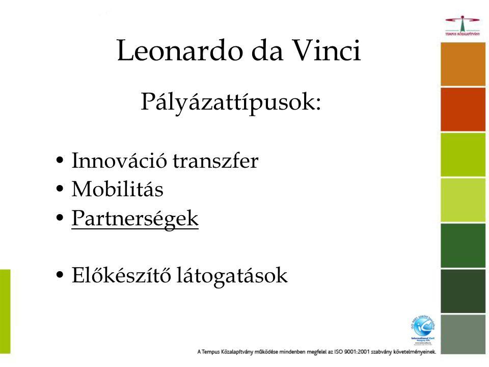 Leonardo da Vinci Pályázattípusok: •Innováció transzfer •Mobilitás •Partnerségek •Előkészítő látogatások