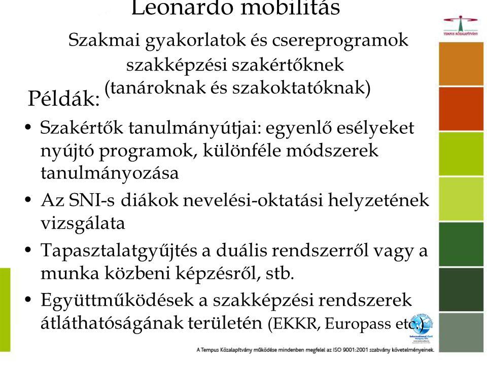 """Leonardo partnerségek •Együttműködés a szakképző intézmények között •Közös érdeklődésre számottartó témák, egymástól tanulás (""""horizontális tanulás ) •Projektmunka, partnertalálkozók a résztvevő országokban •Lehetőség a diákok bevonására •Magyarország: kb 500 partnerségi mobilitás/év •Projekttermékek: konferencia, weboldal, tanulmány, oktatóanyag, film, DVD, stb."""