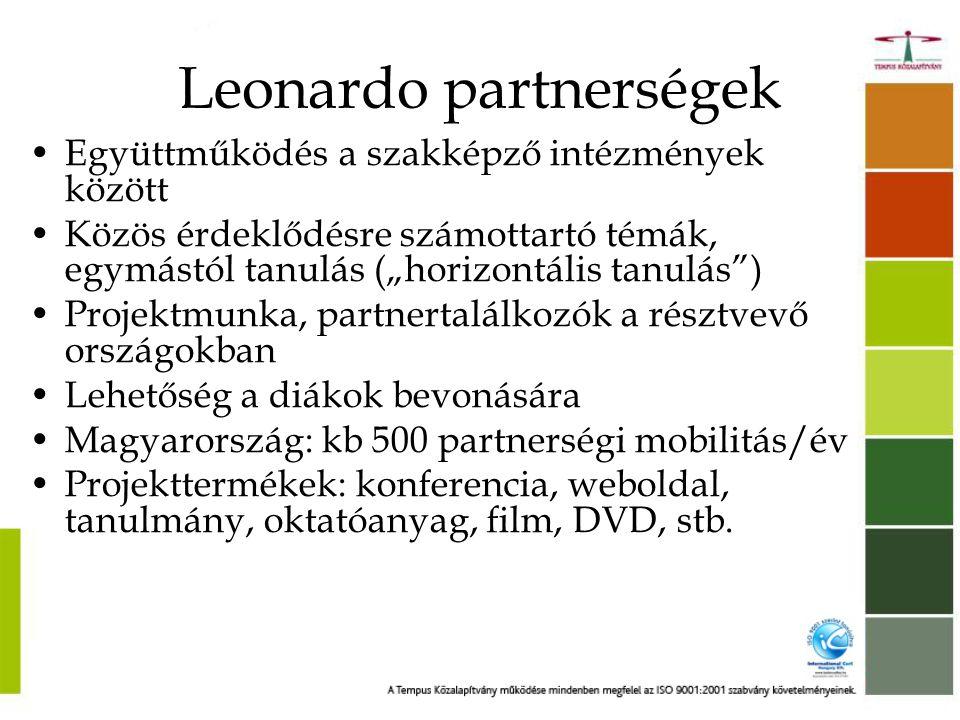 """Leonardo partnerségek Példák eredményekre és hatásokra •további projektek és nemzetközi hálózatépítés generálása •új, külföldön tanult módszerek bevezetése •tanárok: jelentős pozitív hatás a tanári hivatás iránt érzett elkötelezettségre •az újoncok tapasztalatot szereznek a nemzetközi mobilitásokban, a projektek menedzselésében •minőségi fejlődés a szakképzésben •Szakképző intézmények + """"a munka Világa"""