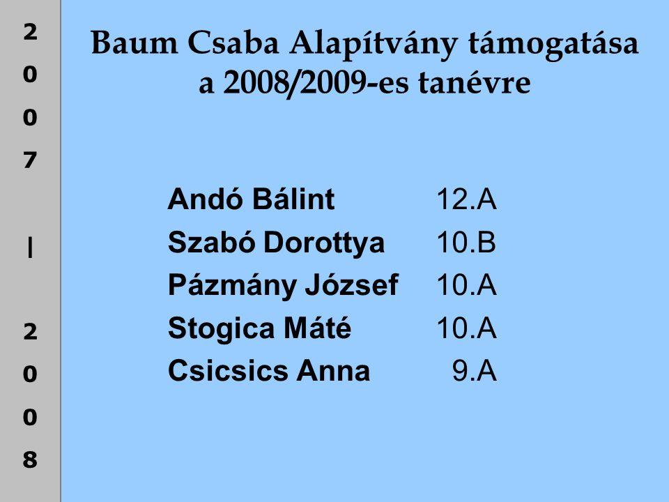2007|20082007|2008 Baum Csaba Alapítvány támogatása a 2008/2009-es tanévre Andó Bálint 12.A Szabó Dorottya 10.B Pázmány József 10.A Stogica Máté 10.A