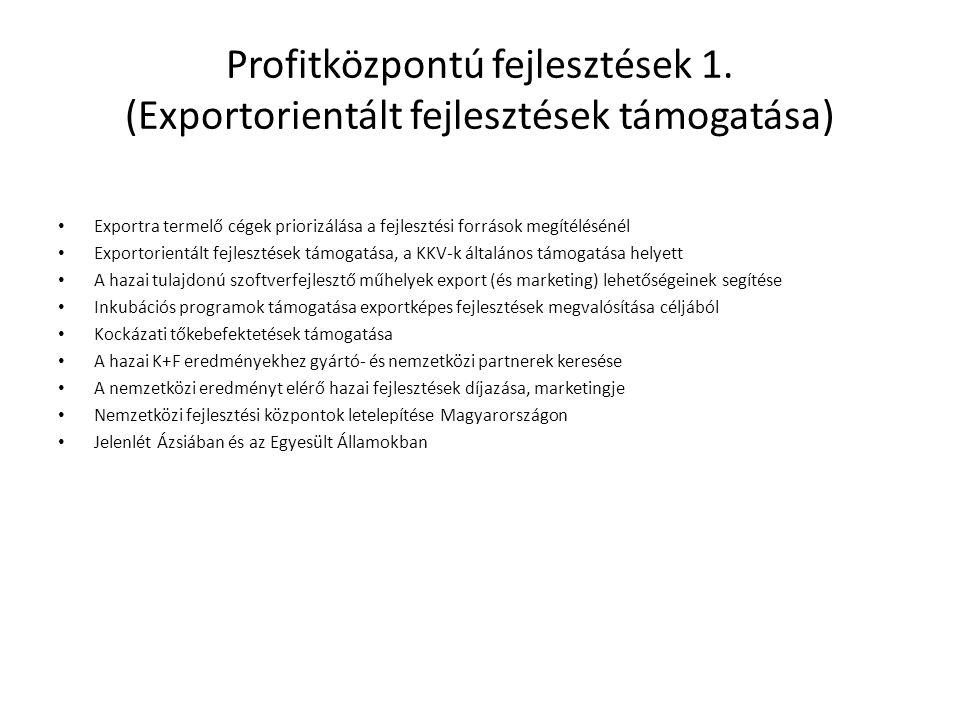 Profitközpontú fejlesztések 1. (Exportorientált fejlesztések támogatása) • Exportra termelő cégek priorizálása a fejlesztési források megítélésénél •