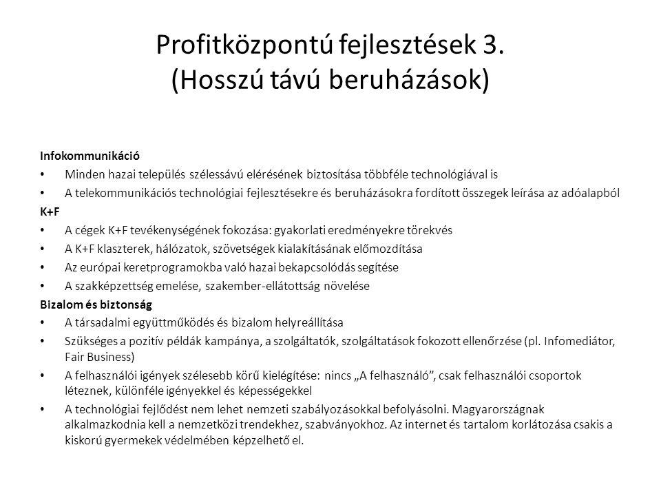 Profitközpontú fejlesztések 3. (Hosszú távú beruházások) Infokommunikáció • Minden hazai település szélessávú elérésének biztosítása többféle technoló