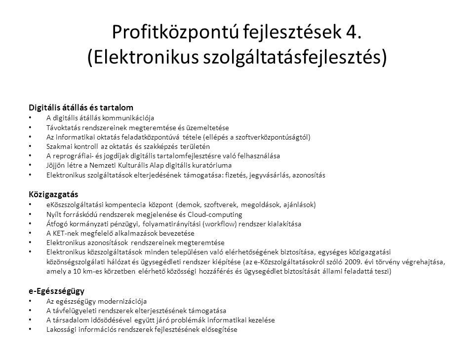 Profitközpontú fejlesztések 4. (Elektronikus szolgáltatásfejlesztés) Digitális átállás és tartalom • A digitális átállás kommunikációja • Távoktatás r
