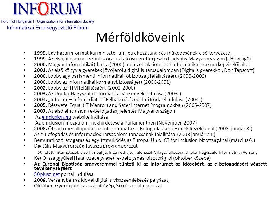 Mérföldköveink • 1999. Egy hazai informatikai minisztérium létrehozásának és működésének első tervezete • 1999. Az első, időseknek szánt szórakoztató