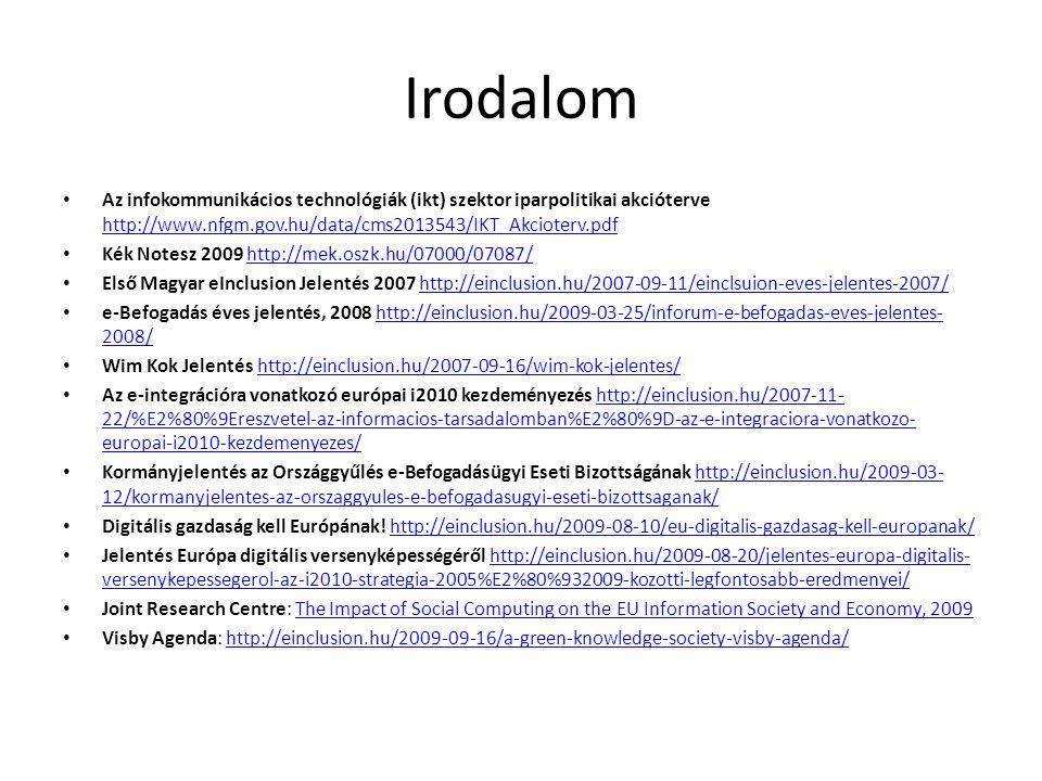Irodalom • Az infokommunikácios technológiák (ikt) szektor iparpolitikai akcióterve http://www.nfgm.gov.hu/data/cms2013543/IKT_Akcioterv.pdf http://www.nfgm.gov.hu/data/cms2013543/IKT_Akcioterv.pdf • Kék Notesz 2009 http://mek.oszk.hu/07000/07087/http://mek.oszk.hu/07000/07087/ • Első Magyar eInclusion Jelentés 2007 http://einclusion.hu/2007-09-11/einclsuion-eves-jelentes-2007/http://einclusion.hu/2007-09-11/einclsuion-eves-jelentes-2007/ • e-Befogadás éves jelentés, 2008 http://einclusion.hu/2009-03-25/inforum-e-befogadas-eves-jelentes- 2008/http://einclusion.hu/2009-03-25/inforum-e-befogadas-eves-jelentes- 2008/ • Wim Kok Jelentés http://einclusion.hu/2007-09-16/wim-kok-jelentes/http://einclusion.hu/2007-09-16/wim-kok-jelentes/ • Az e-integrációra vonatkozó európai i2010 kezdeményezés http://einclusion.hu/2007-11- 22/%E2%80%9Ereszvetel-az-informacios-tarsadalomban%E2%80%9D-az-e-integraciora-vonatkozo- europai-i2010-kezdemenyezes/http://einclusion.hu/2007-11- 22/%E2%80%9Ereszvetel-az-informacios-tarsadalomban%E2%80%9D-az-e-integraciora-vonatkozo- europai-i2010-kezdemenyezes/ • Kormányjelentés az Országgyűlés e-Befogadásügyi Eseti Bizottságának http://einclusion.hu/2009-03- 12/kormanyjelentes-az-orszaggyules-e-befogadasugyi-eseti-bizottsaganak/http://einclusion.hu/2009-03- 12/kormanyjelentes-az-orszaggyules-e-befogadasugyi-eseti-bizottsaganak/ • Digitális gazdaság kell Európának.