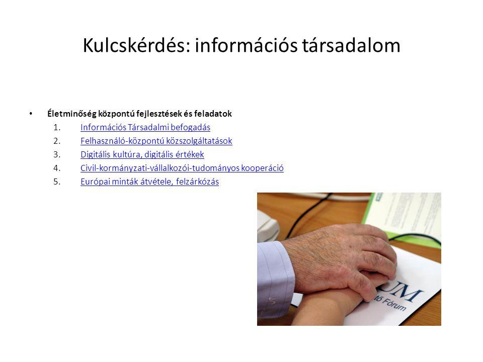 Kulcskérdés: információs társadalom • Életminőség központú fejlesztések és feladatok 1.Információs Társadalmi befogadásInformációs Társadalmi befogadás 2.Felhasználó-központú közszolgáltatásokFelhasználó-központú közszolgáltatások 3.Digitális kultúra, digitális értékekDigitális kultúra, digitális értékek 4.Civil-kormányzati-vállalkozói-tudományos kooperációCivil-kormányzati-vállalkozói-tudományos kooperáció 5.Európai minták átvétele, felzárkózásEurópai minták átvétele, felzárkózás