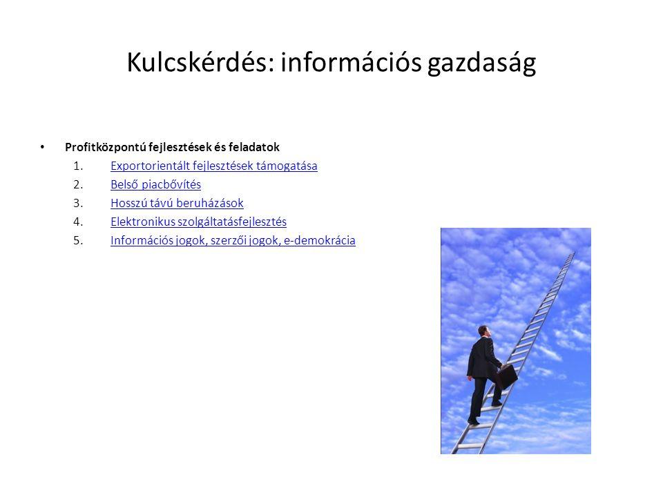 Kulcskérdés: információs gazdaság • Profitközpontú fejlesztések és feladatok 1.Exportorientált fejlesztések támogatásaExportorientált fejlesztések támogatása 2.Belső piacbővítésBelső piacbővítés 3.Hosszú távú beruházásokHosszú távú beruházások 4.Elektronikus szolgáltatásfejlesztésElektronikus szolgáltatásfejlesztés 5.Információs jogok, szerzői jogok, e-demokráciaInformációs jogok, szerzői jogok, e-demokrácia