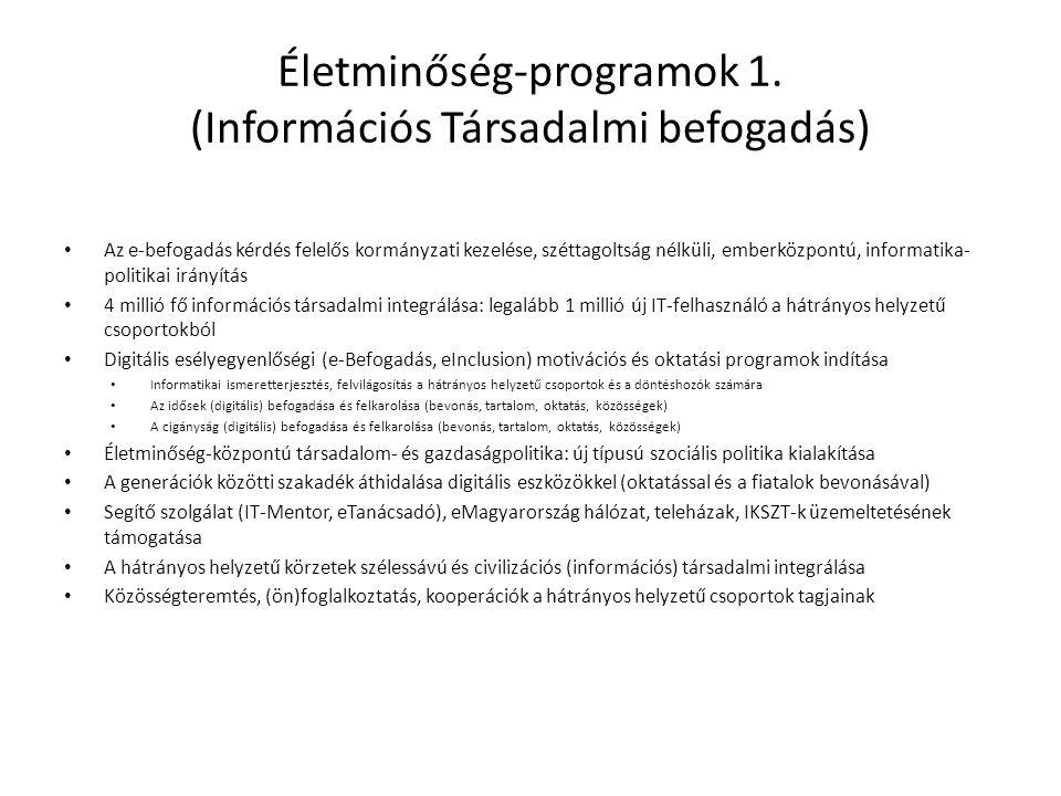 Életminőség-programok 1. (Információs Társadalmi befogadás) • Az e-befogadás kérdés felelős kormányzati kezelése, széttagoltság nélküli, emberközpontú