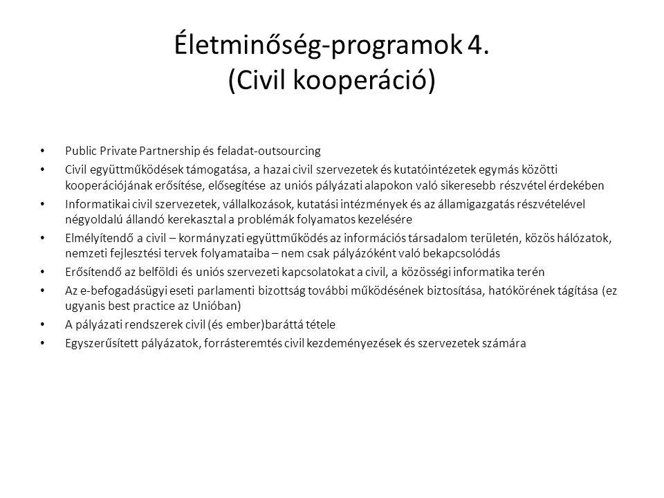 Életminőség-programok 4. (Civil kooperáció) • Public Private Partnership és feladat-outsourcing • Civil együttműködések támogatása, a hazai civil szer
