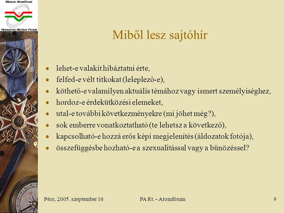Pécs, 2005. szeptember 16PA Rt.