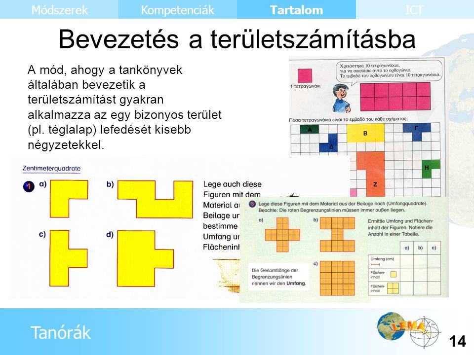 Tanórák Tartalom 14 KompetenciákMódszerekICT Bevezetés a területszámításba A mód, ahogy a tankönyvek általában bevezetik a területszámítást gyakran al