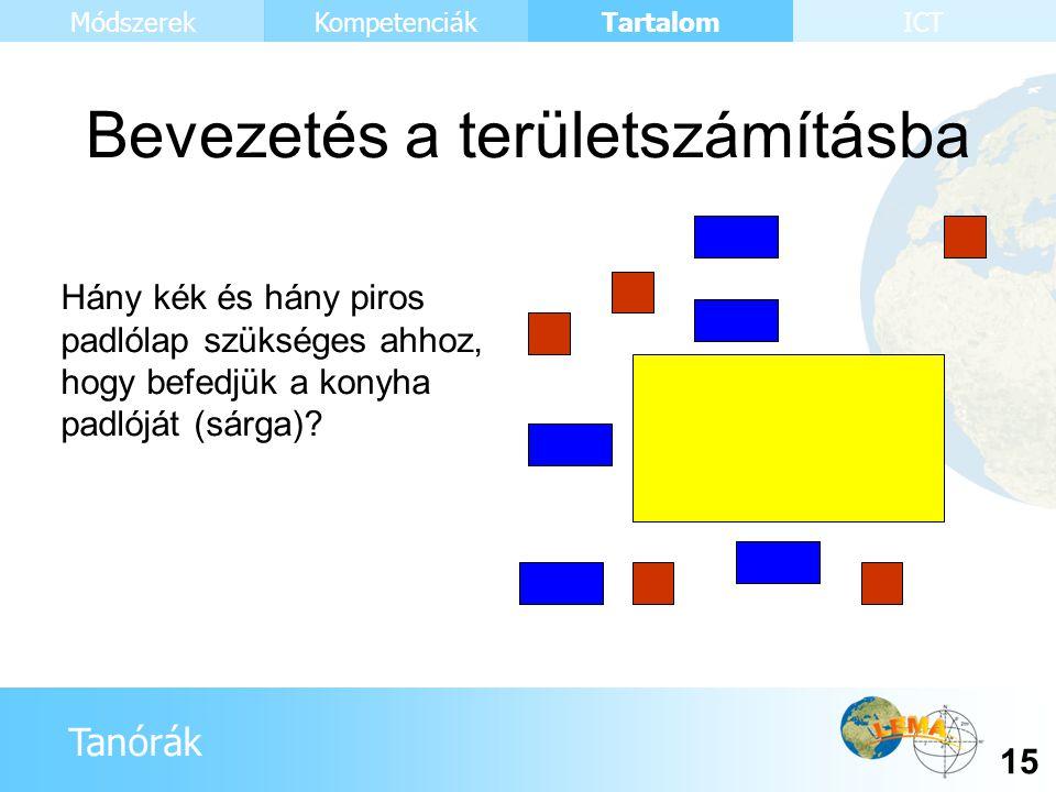Tanórák Tartalom 15 KompetenciákMódszerekICT Hány kék és hány piros padlólap szükséges ahhoz, hogy befedjük a konyha padlóját (sárga)? Bevezetés a ter