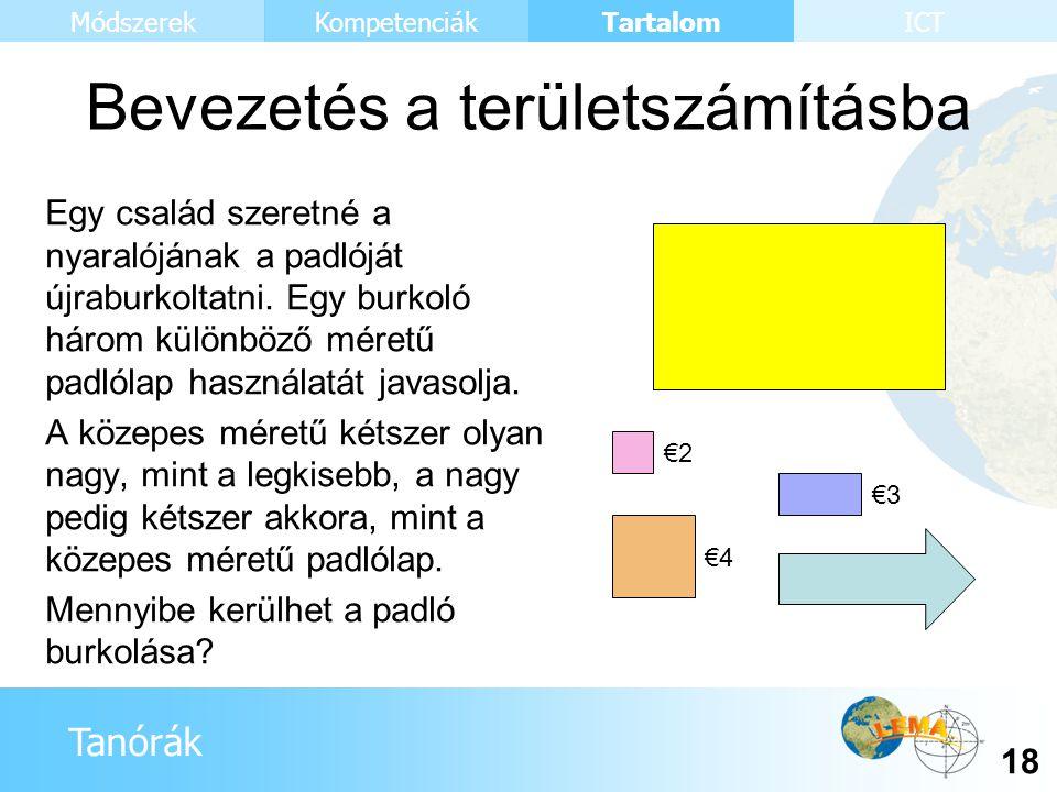 Tanórák Tartalom 18 KompetenciákMódszerekICT Bevezetés a területszámításba Egy család szeretné a nyaralójának a padlóját újraburkoltatni. Egy burkoló