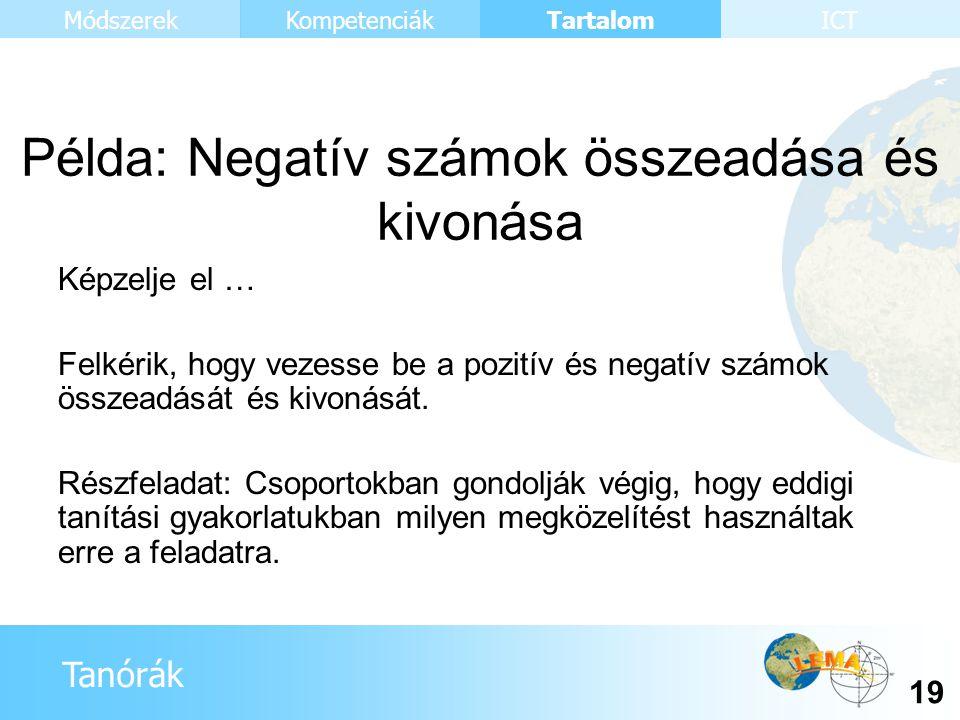 Tanórák Tartalom 19 KompetenciákMódszerekICT Példa: Negatív számok összeadása és kivonása Képzelje el … Felkérik, hogy vezesse be a pozitív és negatív